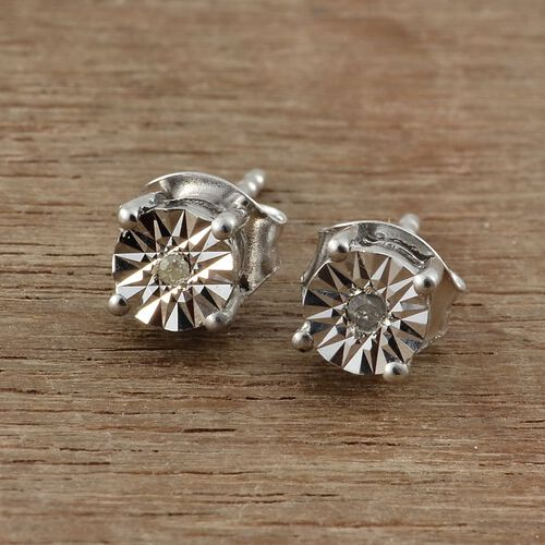 OneTime Deal- Diamond (Rnd) Stud Earrings (with Push Back) in Platinum Overlay Sterling Silver