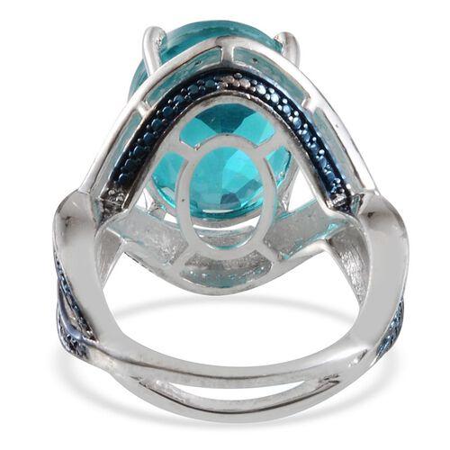 Capri Blue Quartz (Ovl 10.25 Ct), Blue Diamond Ring in Platinum Overlay Sterling Silver 10.270 Ct.