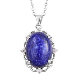 Lapis Lazuli and Simulated White Diamond Pendant With Chain in Rhodium Plated Sterling Silver 10.050 Ct.