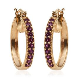 Rare Mozambique Grape Colour Garnet (Rnd) Hoop Earrings (with Clasp) in 14K Gold Overlay Sterling Silver 2.250 Ct.
