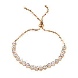 Diamond (Rnd) Adjustable Bracelet (Size 6.5 to 9.5) in 14K Gold Overlay Sterling Silver 0.250 Ct.