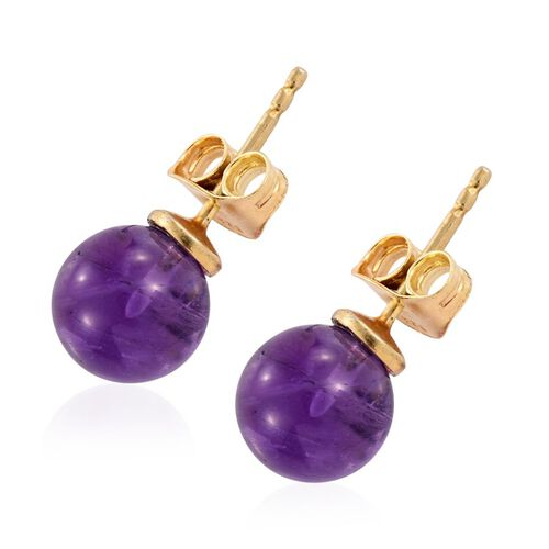 Amethyst Ball Stud Earrings (with Push Back) in 14K Gold Overlay Sterling Silver 7.000 Ct.