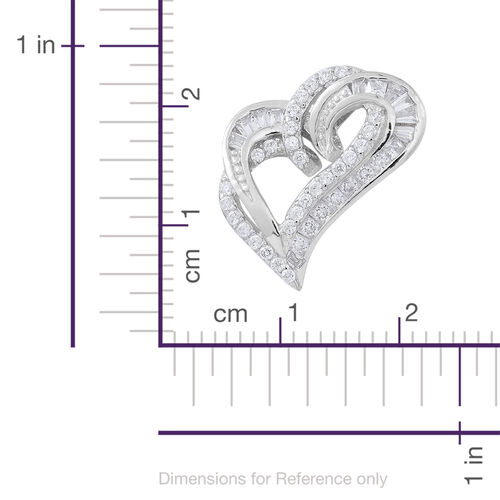 Special Edition - PRINCESS CUT ELANZA AAA Simulated White Diamond (Sqr) Pendant in Rhodium Plated Sterling Silver