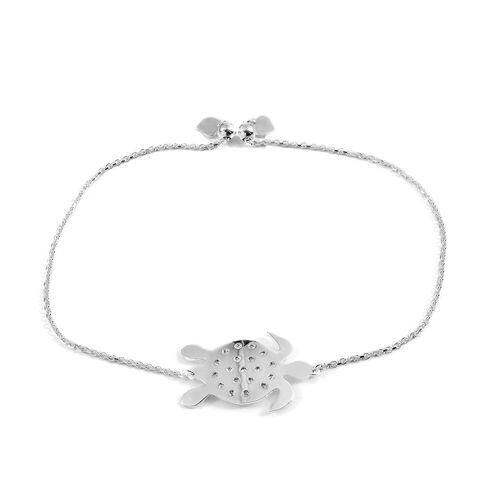 JCK Vegas Collection Sterling Silver Adjustable Tortoise Bracelet (Size 6 to 9), Silver wt 3.50 Gms.