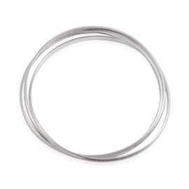 JCK Vegas Collection Rhodium Plated Sterling Silver Bangle (Size 7.5), Silver Wt 11.00 Gms.