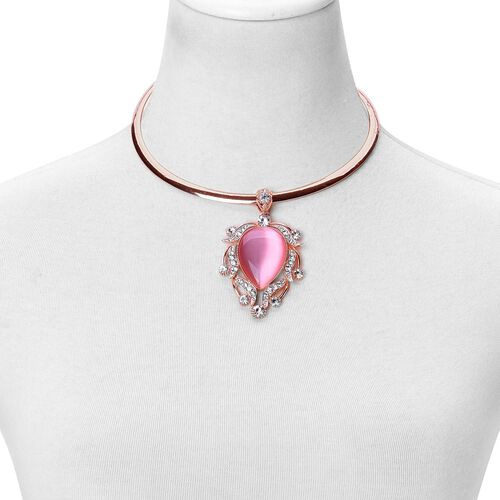 Simulated Pink Cats Eye and White Austrian Crystal Choker Necklace (Size 18) with Retro Pendant in Rose Gold Tone