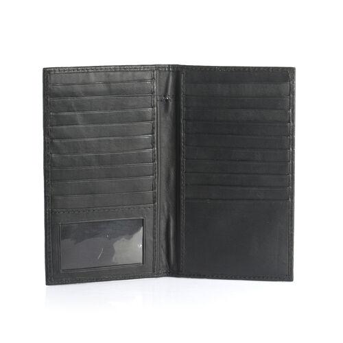 100% Genuine Leather Black Colour Croc Embossed RFID Blocker Card Holder (Size 18.5x10.5 Cm)