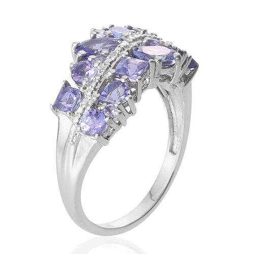 Tanzanite (Ovl 0.50 Ct), Diamond Ring in Platinum Overlay Sterling Silver 2.260 Ct.