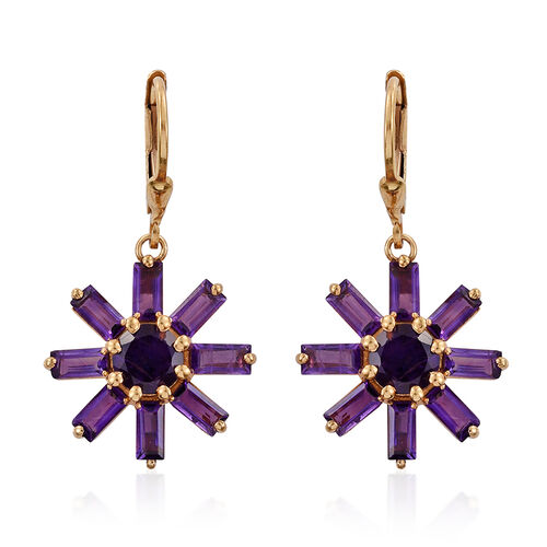 Amethyst (Rnd) Floral Lever Back Earrings in 14K Gold Overlay Sterling Silver 5.000 Ct.
