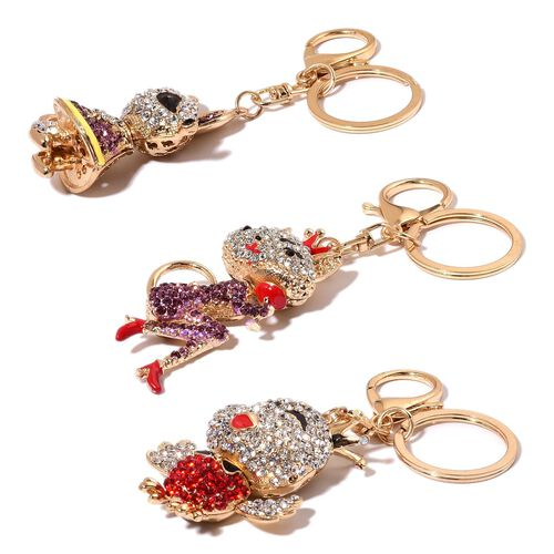 Set of 3 - White, Purple, Red and Black Austrian Crystal Chick, Fox and Rat Enameled Key Chain in Gold Tone