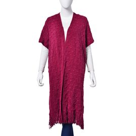 Burgundy Colour Bamboo Pattern Poncho with Tassels (Size 90x65 Cm)