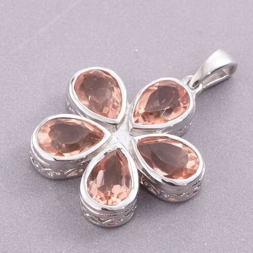 Galileia Blush Pink Quartz (Pear) Floral Pendant in Platinum Overlay Sterling Silver 7.250 Ct.