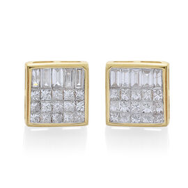 ILIANA 18K Y Gold SGL Certified Diamond (Sqr) Earrings (with Screw Back) 1.000 Ct.