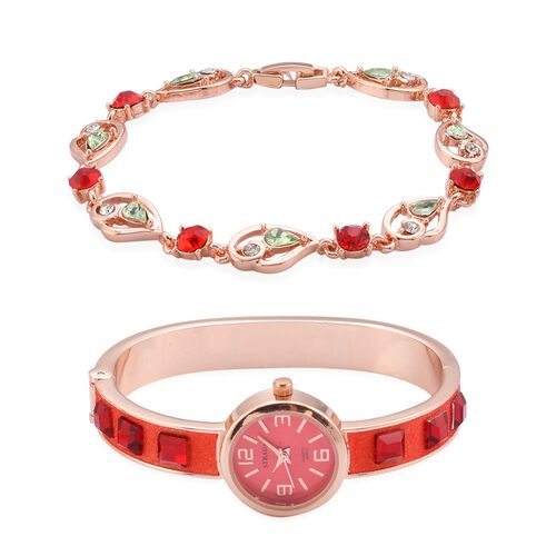 STRADA Japanese Movement Red Dial Simulated Red Stone Water Resistant Bangle Watch with Simulated Green Stone, Red and White Austrian Crystal Bracelet (Size 8) in Rose Gold Tone