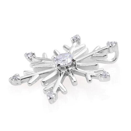J Francis -Platinum Overlay Sterling Silver (Rnd) Snowflake Pendant made with SWAROVSKI ZIRCONIA