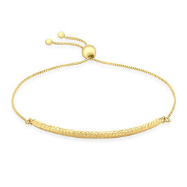 Vicenza Collection 9K Y Gold Box Chain and Diamond Cut Adjustable Bracelet (Size 6.5 to 7.5), Gold wt 2.10 Gms.