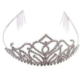 AAA White Austrian Crystal Hair Band in Silver Tone