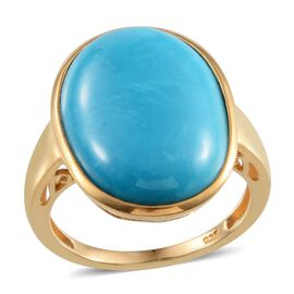 Arizona Sleeping Beauty Turquoise (Ovl) Solitaire Ring in 14K Gold Overlay Sterling Silver 12.000 Ct.