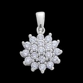 ILIANA 18K W Gold IGI Certified Diamond (Rnd) (SI/ G-H) Cluster Pendant 0.500 Ct.
