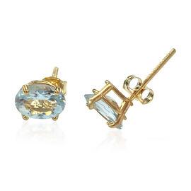 14K Y Gold AA Aquamarine (Ovl) Stud Earrings 1.325 Ct.