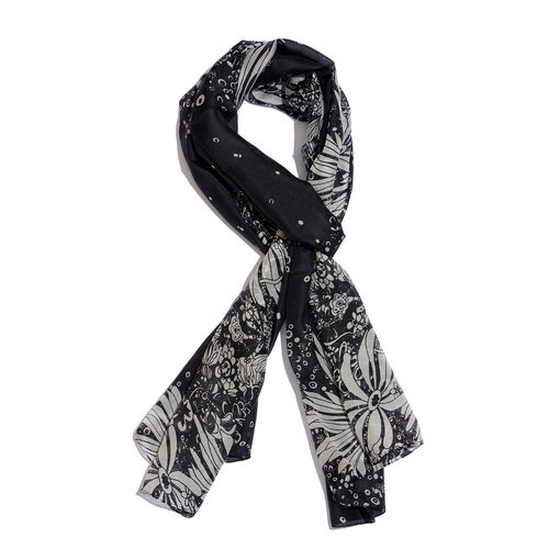 100% Mulberry Silk Black and White Colour Leaves Pattern Scarf (Size 180x50 Cm)