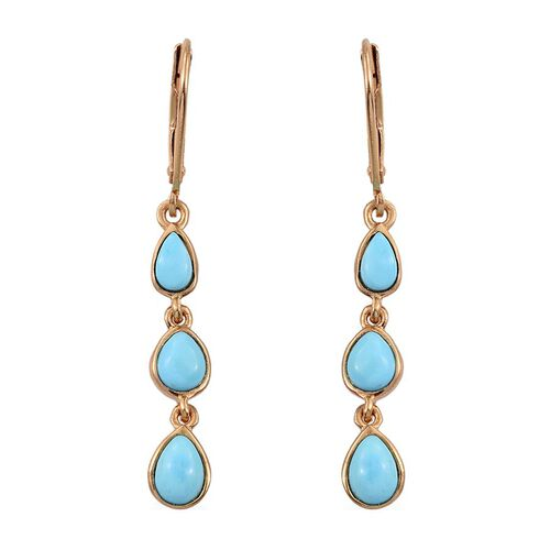 Arizona Sleeping Beauty Turquoise (Pear) Earrings in 14K Gold Overlay Sterling Silver 1.900 Ct.