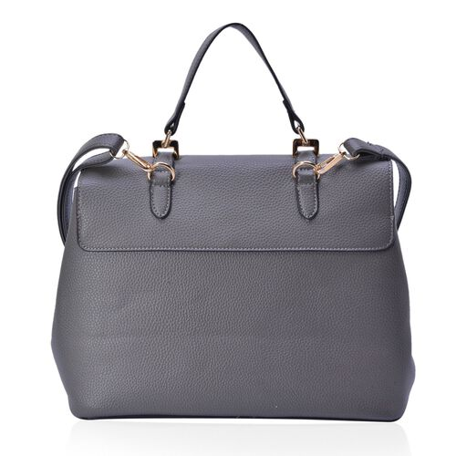 Grey Colour Crossbody Bag with Adjustable and Removable Shoulder Strap (Size 29.5x24x16.5 Cm)