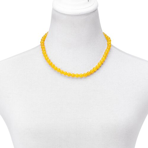 Rare AAA Honey Jade Beads Necklace (Size 18) with Magnetic Clasp in Rhodium Plated Sterling Silver 250.000 Ct.