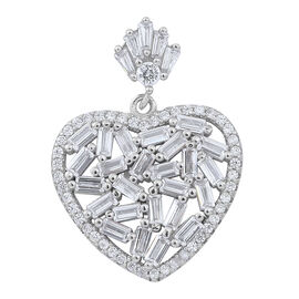 Signature Collection-ELANZA AAA Simulated White Diamond (Bgt) Heart Pendant in Rhodium Plated Sterling Silver