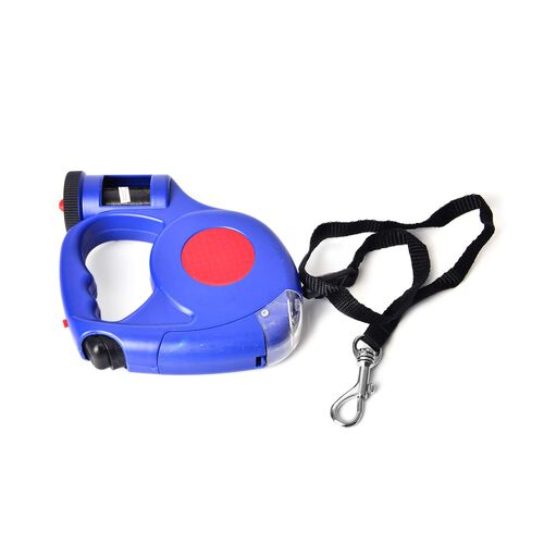 Pet Accessories- Red and Blue Colour Retractable LED Leash with Blue and White Colour Water Bottle with Plastic Bag