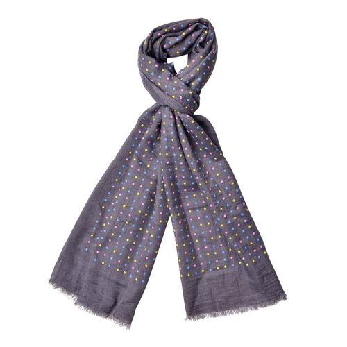 Yellow, Pink and Blue Colour Small Circular Pattern Dark Grey Colour Scarf (Size 180x70 Cm)