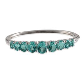 Paraiba Tourmaline Colour Quartz (Ovl 3.75 Ct) Bangle in Platinum Overlay Sterling Silver (Size 7.5) 19.250 Ct.