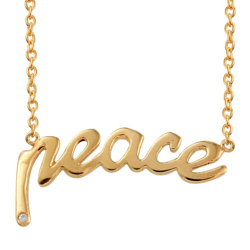 Diamond (Rnd) Peace Message Necklace (Size 18) in Yellow Gold Overlay Sterling Silver
