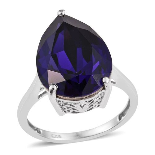 Crystal from Swarovski - Purple Velvet Crystal (Pear) Ring in Platinum Overlay Sterling Silver