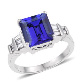 RHAPSODY 950 Platinum AAAA Tanzanite (Oct 5.08 Ct), Diamond (VS/E-F) Ring 5.500 Ct.
