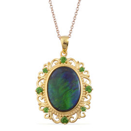 Canadian Ammolite (Ovl 6.00 Ct), Russian Diopside Pendant With Chain in Yellow Gold Overlay Sterling Silver 6.400 Ct.