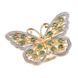 Kagem Zambian Emerald (Rnd) Butterfly Ring in 14K Gold Overlay Sterling Silver 2.500 Ct.