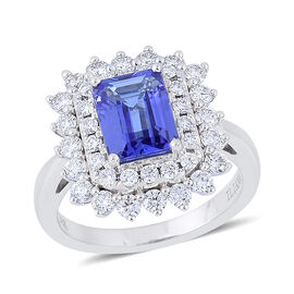 ILIANA 18K W Gold AAA Tanzanite (Oct 2.25 Ct), Diamond Ring 3.250 Ct.