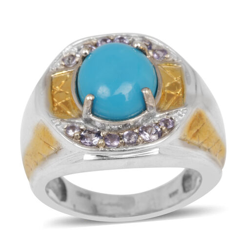 Arizona Sleeping Beauty Turquoise (3.50 Ct),Tanzanite Ring in Platinum Overlay Sterling Silver 4.225 Ct.