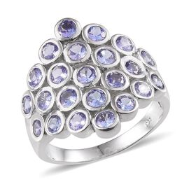 Tanzanite (Rnd) Cluster Ring in Platinum Overlay Sterling Silver 2.750 Ct.