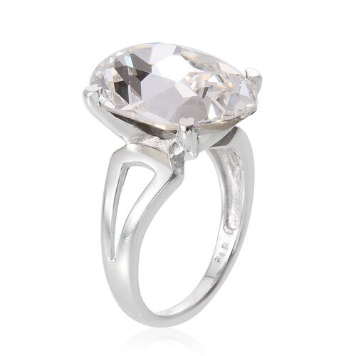 J Francis Crystal from Swarovski - White Crystal (Ovl) Ring in ION Plated Platinum Bond