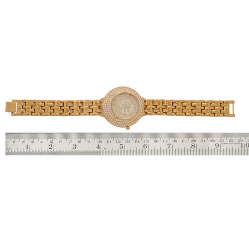 GENOA Japanese Movement Gold Dial White Austrian Crystal Water Resistant Watch in ION Plated Gold Strap