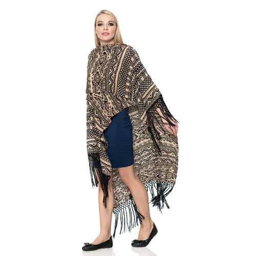 Beige and Black Colour Geometric Pattern Kimono with Tassels (Size 110x90 Cm)