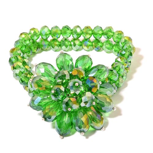 Simulated Russian Diopside Floral Stretchable Bracelet (Size 6.5)