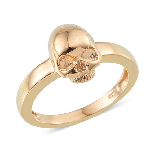 14K Gold Overlay Sterling Silver Skull Ring, Silver wt 3.82 Gms.