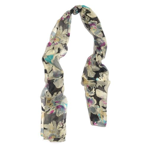 SILK MARK- Made In Kashmir 100% Mulberry Silk Black, Grey and Multi Colour Abstract Pattern Cream Colour Scarf (Size 170x50 Cm)
