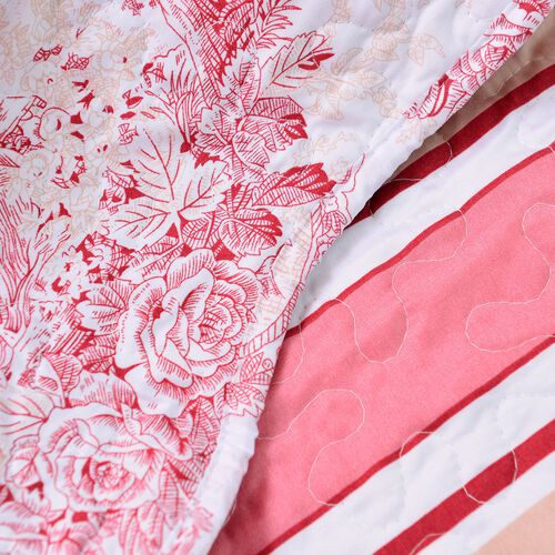Limited Edition - Toile de Jouy Reversible Printed Quilt, Red, (Size 260X240 Cm) and 2 Pillow Shams (Size 70X50X5 Cm)