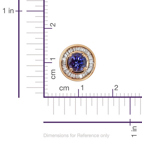 ILIANA 18K Yellow Gold 1.75 Carat AAA Tanzanite Halo Stud Earrings, Diamond SI G-H with Screw Back.