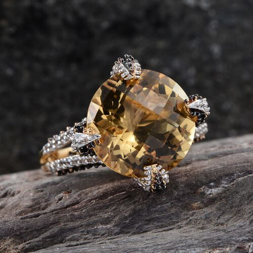 GP Checkerboard Cut Citrine (Rnd 9.75 Ct), Boi Ploi Black Spinel, Kanchanaburi Blue Sapphire and White Topaz Ring in 14K Gold Overlay Sterling Silver 11.000 Ct.