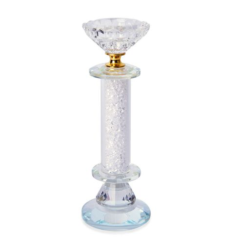 Hand Crafted - Sparkling AAA White Austrian Crystal and Glass Candle Holder Supported with Glass Base (Size 20x7 Cm)
